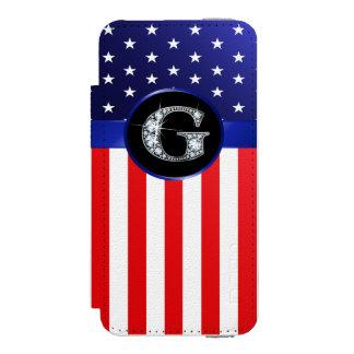 """Capa Carteira Incipio Watson™ Para iPhone 5 Bandeira dos EUA Ameican com o diamante do """"falso"""""""