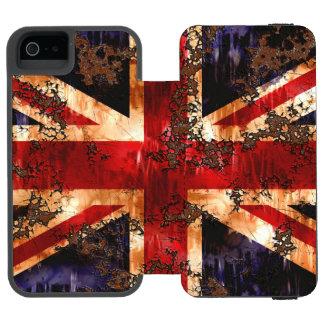 Capa Carteira Incipio Watson™ Para iPhone 5 Bandeira patriótica oxidada de Reino Unido