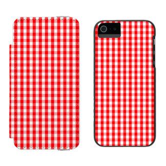 Capa Carteira Incipio Watson™ Para iPhone 5 Branco pequeno da neve e verificação vermelha do