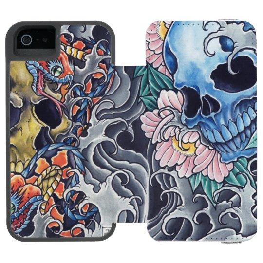 """Capa Carteira Incipio Watson™ Para iPhone 5 Capa Carteira para iPhone 5/5s """"Caveiras Tatto"""""""