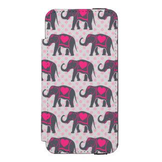 Capa Carteira Incipio Watson™ Para iPhone 5 Elefantes cor-de-rosa quentes cinzentos bonito em