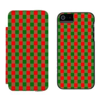 Capa Carteira Incipio Watson™ Para iPhone 5 Grande Tartan vermelho e verde da verificação do