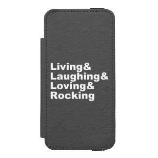 Capa Carteira Incipio Watson™ Para iPhone 5 Living&Laughing&Loving&ROCKING (branco)