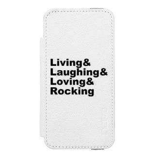 Capa Carteira Incipio Watson™ Para iPhone 5 Living&Laughing&Loving&ROCKING (preto)
