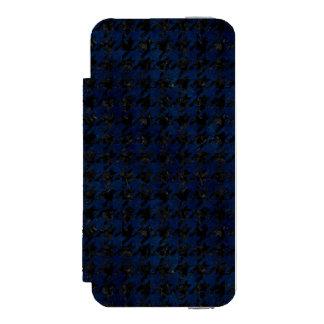 CAPA CARTEIRA INCIPIO WATSON™ PARA iPhone 5 MÁRMORE HOUNDSTOOTH1 PRETO & GRUNGE AZUL