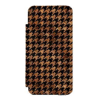 CAPA CARTEIRA INCIPIO WATSON™ PARA iPhone 5 MÁRMORE HOUNDSTOOTH1 PRETO & PEDRA MARROM