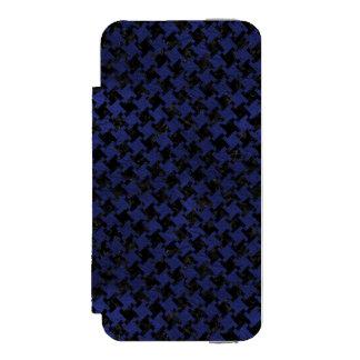CAPA CARTEIRA INCIPIO WATSON™ PARA iPhone 5 MÁRMORE HOUNDSTOOTH2 PRETO & COURO AZUL