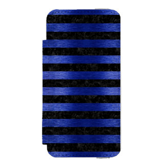 CAPA CARTEIRA INCIPIO WATSON™ PARA iPhone 5 MÁRMORE STRIPES2 PRETO & METAL ESCOVADO AZUL