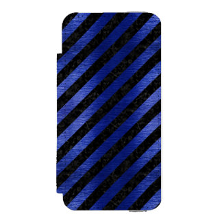 CAPA CARTEIRA INCIPIO WATSON™ PARA iPhone 5 MÁRMORE STRIPES3 PRETO & METAL ESCOVADO AZUL