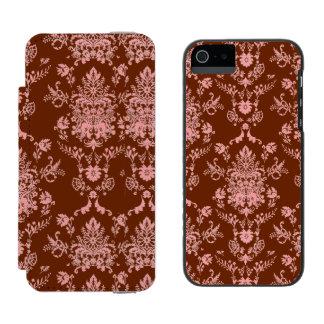 Capa Carteira Incipio Watson™ Para iPhone 5 Rosa no damasco marrom