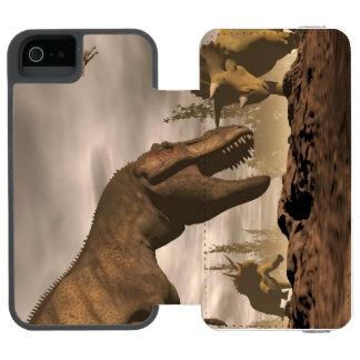 Capa Carteira Incipio Watson™ Para iPhone 5 Tiranossauro que ruje no triceratops - 3D rendem