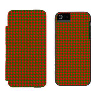 Capa Carteira Incipio Watson™ Para iPhone 5 Verificação vermelha e verde do Natal clássico de