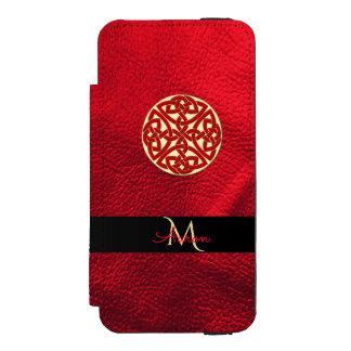 Capa Carteira Incipio Watson™ Para iPhone 5 Vermelho e monograma celta do nó do ouro