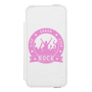 Capa Carteira Incipio Watson™ Para iPhone 5 Vive a ROCHA do amor do riso (o rosa)