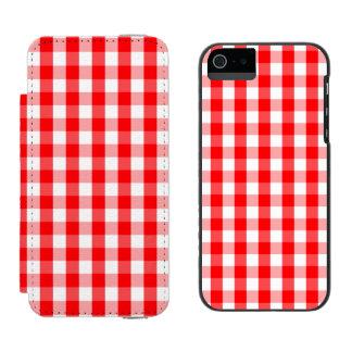Capa Carteira Incipio Watson™ Para iPhone 5 Xadrez vermelha e branca do grande Natal do