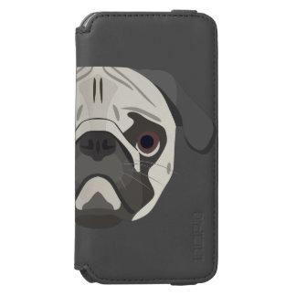 Capa Carteira Incipio Watson™ Para iPhone 6 A ilustração persegue o Pug da cara