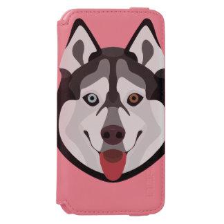 Capa Carteira Incipio Watson™ Para iPhone 6 A ilustração persegue o rouco Siberian da cara