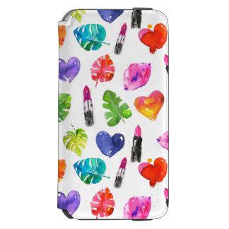 Capa Carteira Incipio Watson™ Para iPhone 6 Batons do beijo do pino das folhas de palmeira da