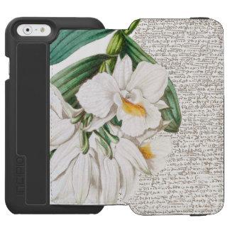 Capa Carteira Incipio Watson™ Para iPhone 6 Caligrafia branca das orquídeas