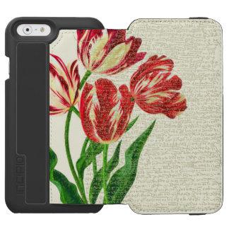 Capa Carteira Incipio Watson™ Para iPhone 6 Caligrafia vermelha das tulipas