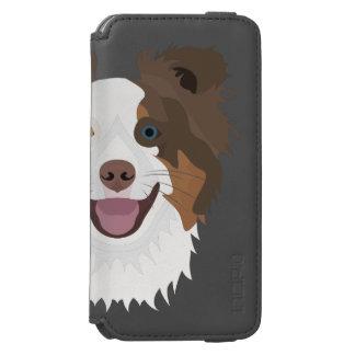 Capa Carteira Incipio Watson™ Para iPhone 6 Cara feliz border collie dos cães da ilustração