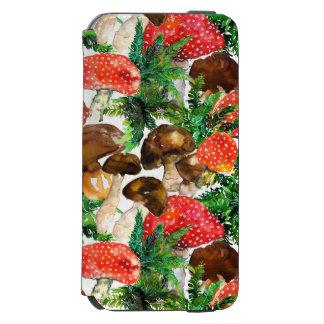 Capa Carteira Incipio Watson™ Para iPhone 6 Cogumelos da aguarela e teste padrão verde da