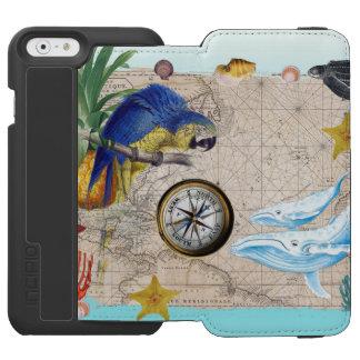 Capa Carteira Incipio Watson™ Para iPhone 6 Colagem azul tropical