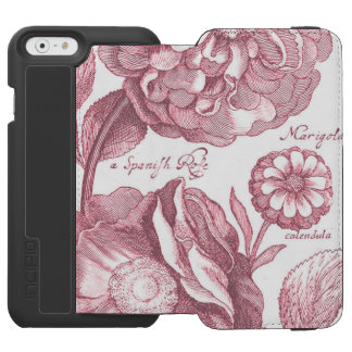 Capa Carteira Incipio Watson™ Para iPhone 6 Cravos-de-defunto florais do vintage