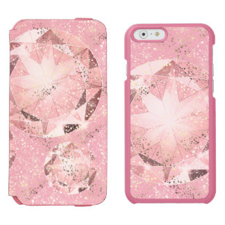 Capa Carteira Incipio Watson™ Para iPhone 6 Diamante cor-de-rosa no Pastel claro com faísca do