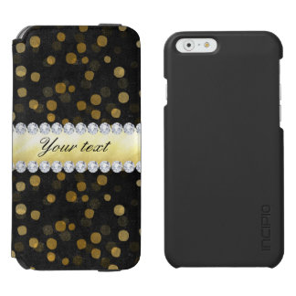 Capa Carteira Incipio Watson™ Para iPhone 6 Diamantes pretos dos confetes do ouro do quadro