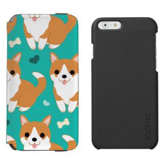 Capa Carteira Incipio Watson™ Para iPhone 6 Do cão bonito do Corgi de Kawaii teste padrão