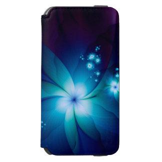 Capa Carteira Incipio Watson™ Para iPhone 6 Flores azuis elegantes do Fractal