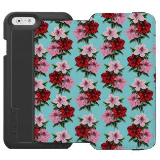 Capa Carteira Incipio Watson™ Para iPhone 6 flores rosas vermelha na luz da cerceta