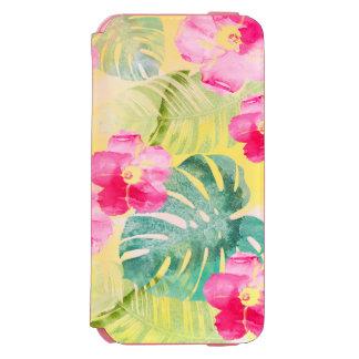 Capa Carteira Incipio Watson™ Para iPhone 6 Folhas de palmeira tropicais e flores cor-de-rosa