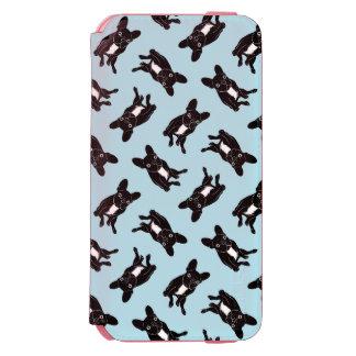 Capa Carteira Incipio Watson™ Para iPhone 6 Frenchie rajado bonito na arte digital preta &