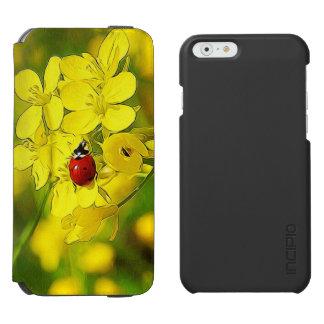 Capa Carteira Incipio Watson™ Para iPhone 6 Joaninha amarelo do vermelho da boa sorte da flor