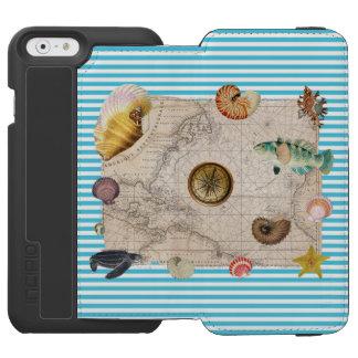 Capa Carteira Incipio Watson™ Para iPhone 6 Listras azuis do tesouro marinho
