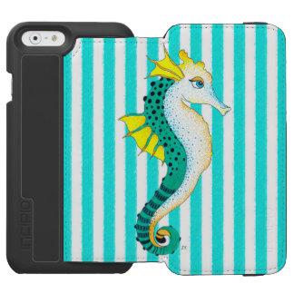 Capa Carteira Incipio Watson™ Para iPhone 6 listras da cerceta do cavalo marinho