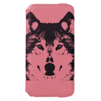 Capa Carteira Incipio Watson™ Para iPhone 6 Lobo preto da ilustração