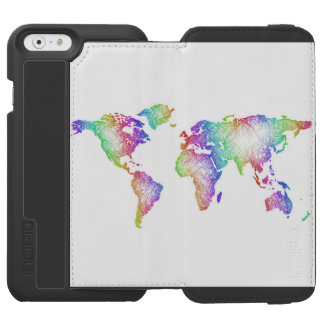Capa Carteira Incipio Watson™ Para iPhone 6 Mapa do mundo do arco-íris