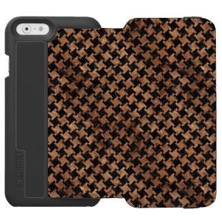 CAPA CARTEIRA INCIPIO WATSON™ PARA iPhone 6 MÁRMORE HOUNDSTOOTH2 PRETO & PEDRA MARROM