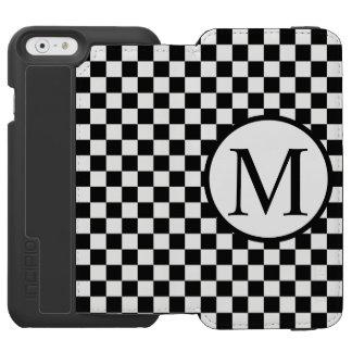 Capa Carteira Incipio Watson™ Para iPhone 6 Monograma simples com tabuleiro de damas preto