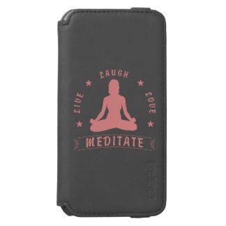 Capa Carteira Incipio Watson™ Para iPhone 6 O amor vivo do riso Meditate texto fêmea (o rosa)