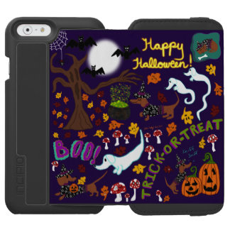 Capa Carteira Incipio Watson™ Para iPhone 6 O Dia das Bruxas do Dachshund da diva
