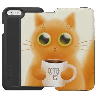 Capa Carteira Incipio Watson™ Para iPhone 6 O gatinho bonito pintado mão com café coloca