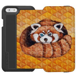 Capa Carteira Incipio Watson™ Para iPhone 6 Panda vermelha no Cubism alaranjado Geomeric