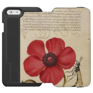 Capa Carteira Incipio Watson™ Para iPhone 6 Papoila vermelha e o inseto