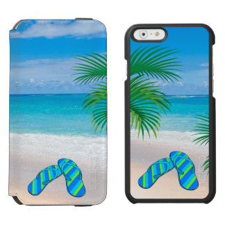 Capa Carteira Incipio Watson™ Para iPhone 6 Praia tropical com palmeiras e chinelos