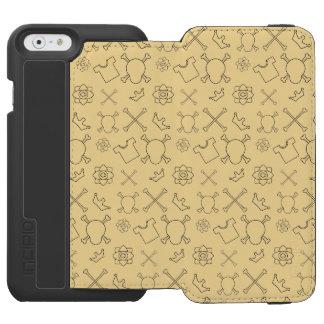 Capa Carteira Incipio Watson™ Para iPhone 6 Teste padrão amarelo do crânio e dos ossos
