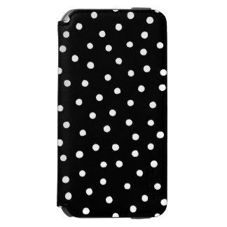 Capa Carteira Incipio Watson™ Para iPhone 6 Teste padrão de pontos preto e branco dos confetes